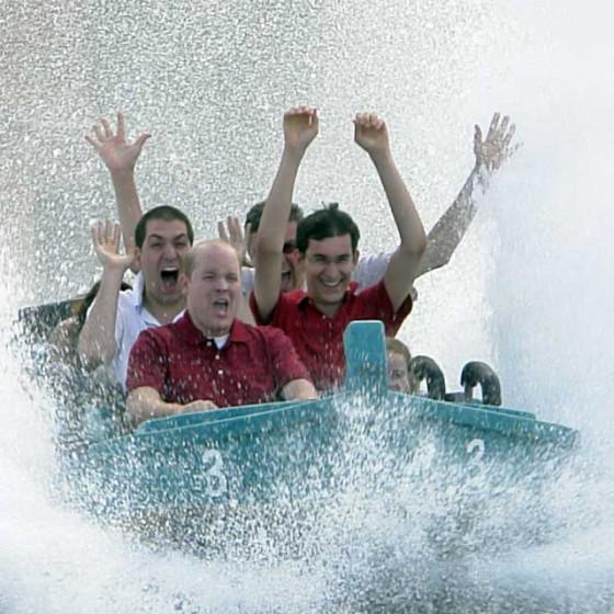 Tobias, Gerd und Markus bei der Wildwasserfahrt