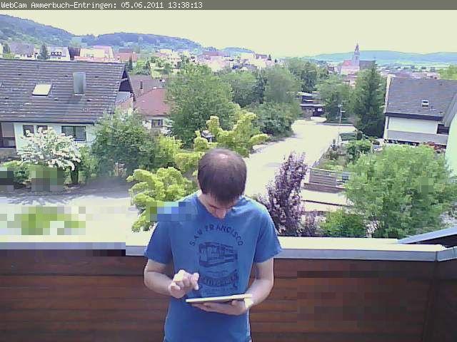 Tobias beim Kalibrieren der WebCam
