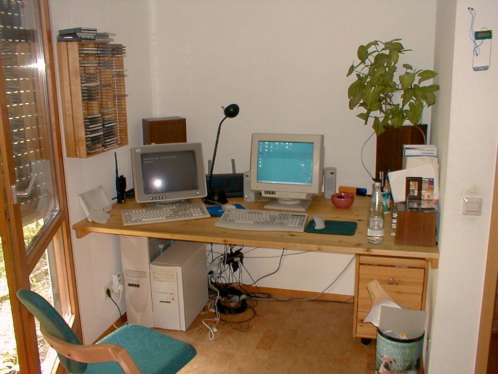 My desktop (Windows) and server (Linux) in 1999